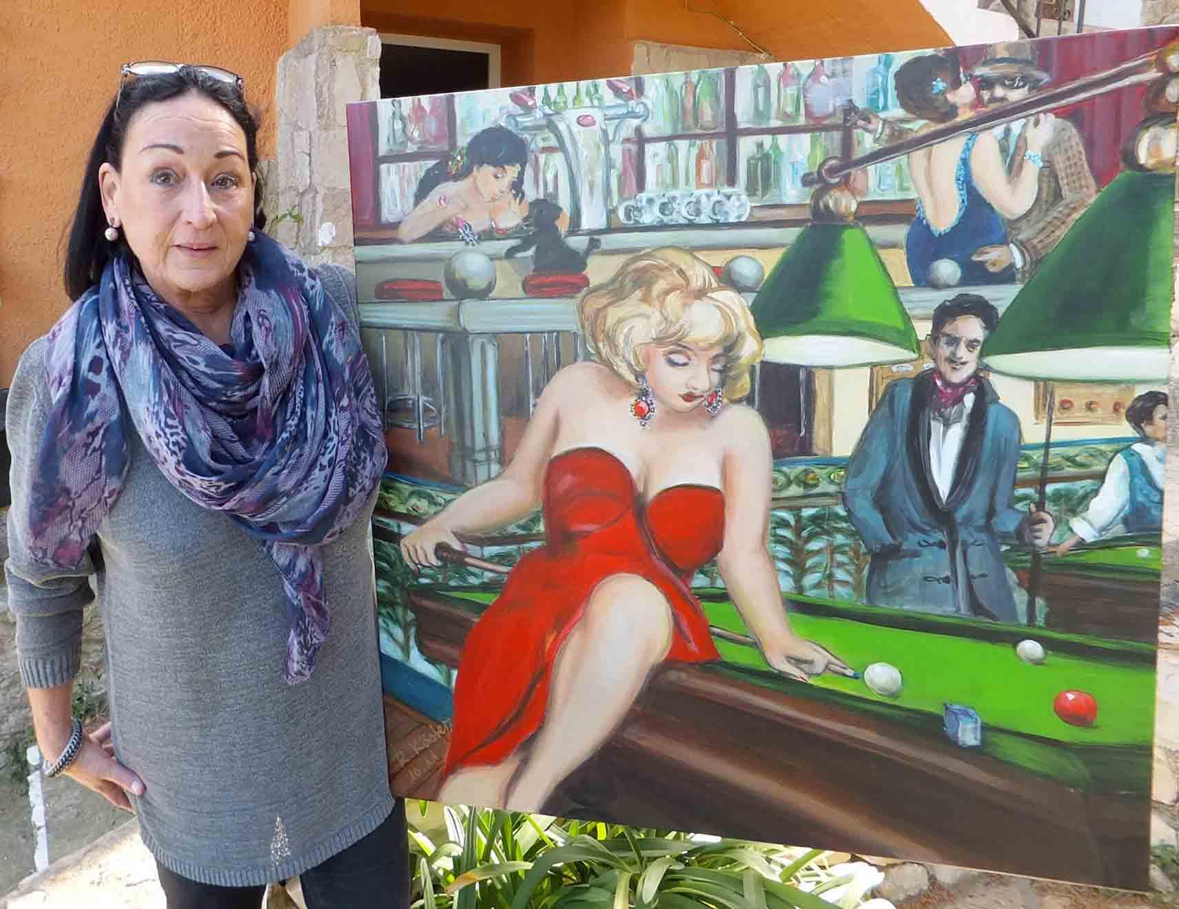 Romy köster mit bild im vintage retro stil kl