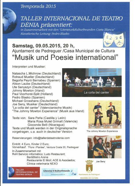 Einladung 09. Mai 2015 Pedreguer Musik und Poesie international